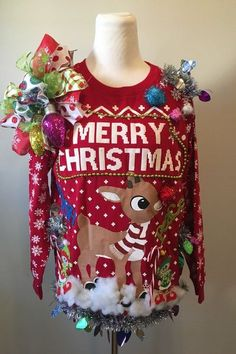Ugly Christmas Sweater Rudolph Reindeer Elf Sweater - Emma Lee home Best Ugly Christmas Sweater, Merry Christmas, Diy Ugly Christmas Sweater, Christmas Outfits, Xmas Sweaters, Christmas Stuff, Reindeer Ugly Sweater, Christmas Time, Christmas Crafts