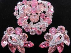 Vintage Pink Rhineston Eisenberg Pin Earring Set Signed Glowing WOW Demi Parure | eBay