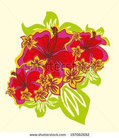 hibiscus flower pattern vector art - stock vector