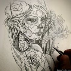 Day of the Dead Art by Victor Sepulveda Day Of The Dead Tattoo Designs, Day Of The Dead Tattoo Sleeve, Day Of The Dead Drawing, Day Of The Dead Artwork, Graffiti Tattoo, Body Art Tattoos, Sleeve Tattoos, Tatoos, Day Of The Dead Woman