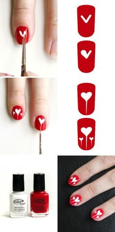 Heart Nails - I'd paint my ring finger the opposite.