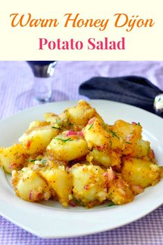 Warm Honey Dijon Potato Salad - add plenty of flavour to plain potatoes with this simple, quick, tasty side dish to serve with chicken, beef, pork or fish.