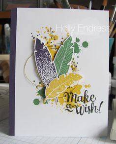 Hollybeary Creations, Stampin' Up!, Four Feathers, Gorgeous Grunge, Mama Elephant, Make a Wish, Hand Stamped Card