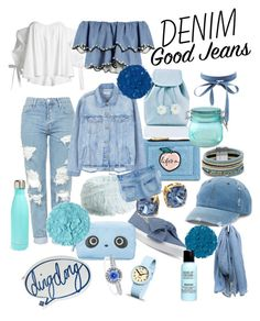 """Denim"" by mariahhh17 on Polyvore featuring moda, Topshop, Charlotte Russe, Sugarbaby, Skinnydip, Cara, Nine West, Mudd, Tory Burch y MANGO"