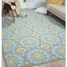 Waverly Sun N' Shade Solar Flair Jade Area Rug by Nourison (5'3 x 7'5) | Overstock.com Shopping - The Best Deals on 5x8 - 6x9 Rugs