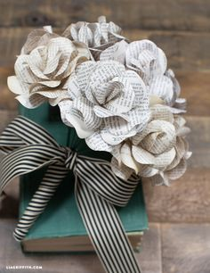Vintage Book Page Paper Flower Bouquet                                                                                                                                                                                 More