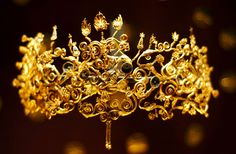 Golden wreath diadem from the tomb of a woman, possibly a wife of Phillip II of Macedon (Alexander the Great's father), excavated in Vergina, Imathia, Central Macedonia.