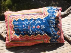 Hmong Vintage Textile Upcycled HandMade Cushion Cover. $34.00, via Etsy.