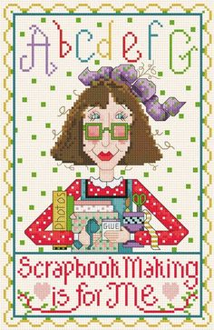 0 point de croix lady scrapbooking is for me - cross stitch