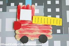 Popsicle Stick Firetruck - Kids Craft. Great for a transportation unit.