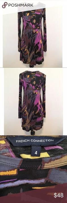 French Connection Abstract Pattern L/S Tunic/Mini Gorgeous and comfy! French Connection colorful abstract pattern long sleeve tunic/mini dress. Very stretchy. Crew neck. Thin material. I wore it over leggings. In excellent condition, no known flaws. Size 4. TTS. ❌ NO TRADES ❌ NO LOWBALLING ❌ French Connection Dresses Mini