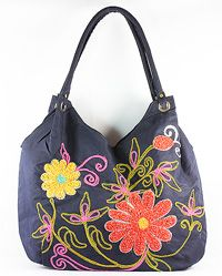 New Today!! See & Shop this Navy Blue Handbag with Stiched Cotton Flowers at www.beadnic.com