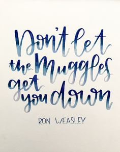 """Don't let the muggles get you down"" - Ron Weasley ❤️ one of my favorite Harry Potter quotes!  https://www.etsy.com/shop/LyssLettering"