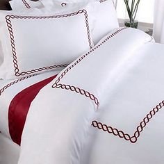 ceeb7b82a56d Amazon.com  Hotel Duvet Cover Set White Embroidered 100 Egyptian Cotton  with Red Trim Pattern 5 Piece King Cal King Size  Home   Kitchen