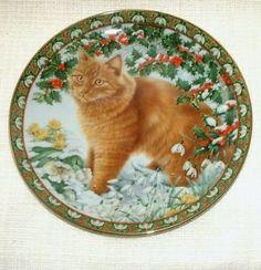 BOXED Danbury Mint LESLEY ANNE IVORY Cat PLATE Four Seasons DANDELION in WINTER