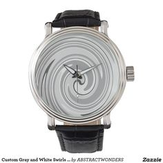 Custom Gray and White Swirls Men's Vintage Watch