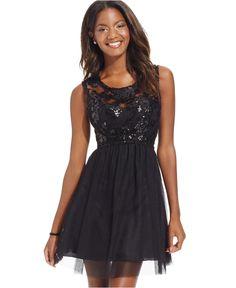 9b637bd6f64bc Sequin Hearts Juniors' Sequin Illusion Lace Party Dress & Reviews - Dresses  - Juniors - Macy's