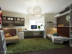 Study Room, Cool teenage bedroom study with grass green ruf rug and glamorous chandeliers: Awesome Teen Workspaces with Modern Designs