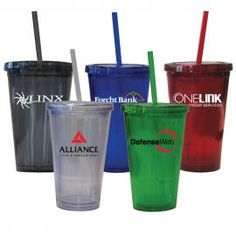 Promotional Products - Promotional Items - 16 Oz. Double Wall Acrylic Cups With Matching Straw