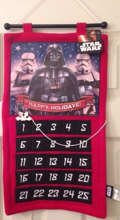 Star Wars Advent Calendar Christmas Hanging Darth Vader Storm Trooper Holiday #disney