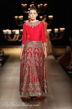 Manish Malhotra embroidered red lehenga with plain choli