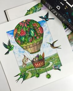 Adventure Part II: The Amazon. Currently reading a book on evolution by Edward O. Wilson. Hop on for a mini expedition. #johannabasford #coloredpencils #johannabasfordenchantedforest #adultcoloringbook #coloringbook #prismacolor #hotairballoon