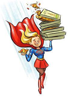 """Super Delivery!"" by Dani Jones @danidraws - Supergirl - Kara Danvers - Pizza delivery - Fanart / art - Doodle"