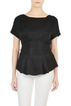 eShakti Womens Sash waist peplum tencel blouse $49.95 AT vintagedancer.com