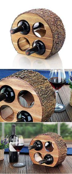 Acacia Wood Countertop Wine Rack with Natrual Bark   Craze Trend