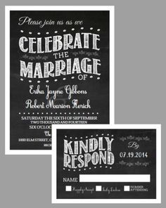New free chalkboard vintage invitation printable suite with matching RSVP card. Created by Whimsical Stationary