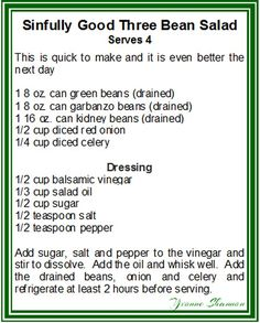 3 Bean Salad Even better if it is made the day before so it is perfect to make ahead for Sunday dinner so that you can enjoy the extra time with your guests. 3 Bean Salad, Three Bean Salad, Bean Salad Recipes, Summer Recipes, New Recipes, Cooking Recipes, Favorite Recipes, Healthy Recipes, Kitchens