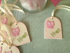 Set Of Ten Pink Owl Shabby Chic Baby by TheCarriageShoppe on Etsy, $8.00