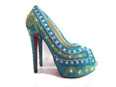 Christian Louboutin 140mm Stiletto Heel suede colorful rhinestones peep toe Pump Multicolor Blue for Wedding Shoes