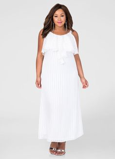 A plus size outfit that will flatter your curvy figure! This white plus size maxi dress features a slinky shadow stripe & femme top ruffle, you´ll love it. Only at Ashley Steward, prize is lovely too $41.65 only (before $59.50). Click to see more details  {affiliate link}