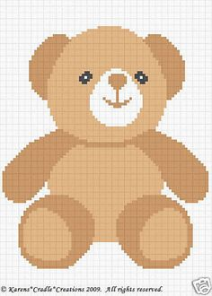 TEDDY BEAR Color Graph Chart Baby Afghan Pattern *EASY #KarensCradleCreations