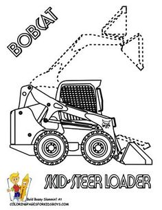 BobCat Skid Steer Loader Construction Coloring Page. You can print out this coloring picture. http://www.yescoloring.com/images/74_coloring_page_kids_working_construction_tractor_coloringkidsboys.gif