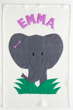 Girl Elephant Personalized Baby Blanket by Admiral Road, Baby Blankets,Personalized Items