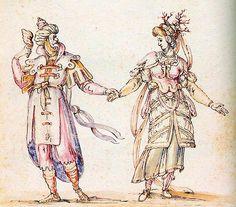 """La Pellegrina, 1589: Costumes for a delphic couple from the intermezzo """"(costume design Bernardo Buontalenti)."""