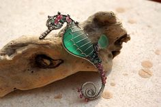 TEAL GREEN seahorse wire wrapped seaglass pendant..