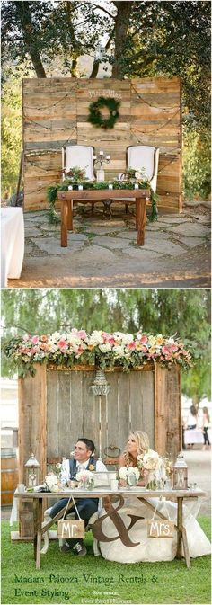 Rustic country wedding ideas - rustic sweetheart table decor for wedding reception / http://www.deerpearlflowers.com/top-20-rustic-country-wedding-sweetheart-table-ideas/