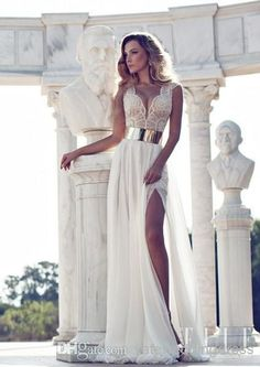 2014 Wedding Dresses Julie Vino Sexy Beach Sash A Line Side Thigh-High Slit Ivory Chiffon Short Sleeve Sheer Wedding Dresses 2014 Prom Dress