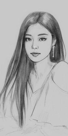 Kpop Drawings, Anime Girl Drawings, Cool Art Drawings, Realistic Drawings, Easy Drawings, Cute Sketches, Girl Drawing Sketches, Girl Sketch, Girl Drawing Easy
