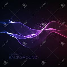 123rf: 3D illuminated abstract digital wave of glowing particles and wireframe. Neon Sign. Futuristic vector illustration. HUD element. Technology concept. Abstract background Stock Vector - 57452144