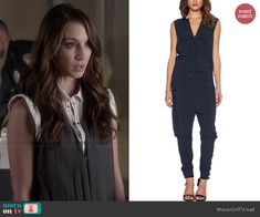 Spencer's navy zip front jumpsuit on Pretty Little Liars.  Outfit Details: http://wornontv.net/44766/ #PLL