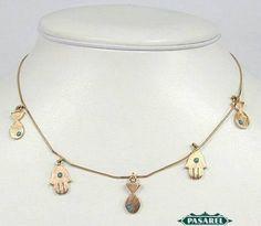 Pasarel - 14K Rose Gold Turquoise Kabbalah Protection Necklace $775