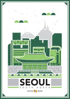 City Illustrations (Seoul, South Korea) Art Print by Nuthon Design - X-Small Dm Poster, Poster Series, Design Poster, Graphic Design, South Corea, Republik Korea, Korea Design, Design Brochure, Travel Illustration