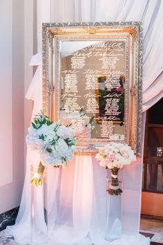 photo: Blush Wedding Photography; Elegant wedding reception seating chart idea;