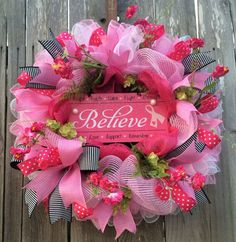 Breast Cancer Wreath Breast Cancer Sign Pink by BaBamWreaths