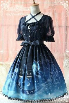 Krad Lanrete- Lost in Sea OP Navy (Size M) « Lace Market: Lolita Fashion Sales and Auctions Pretty Outfits, Pretty Dresses, Beautiful Dresses, Fashion Sale, Cute Fashion, Emo Fashion, Mode Lolita, Kawaii Clothes, Kawaii Outfit