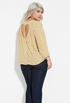 Plus Size Daisy Print Cutout-Back Top | Forever 21 PLUS - 2000150997
